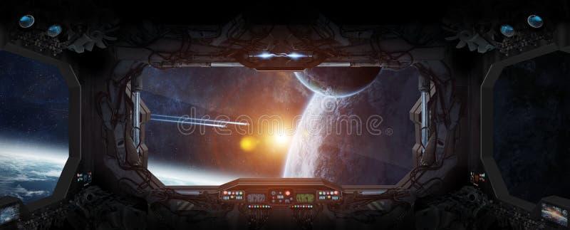 Widok kosmos od okno stacja kosmiczna ilustracji