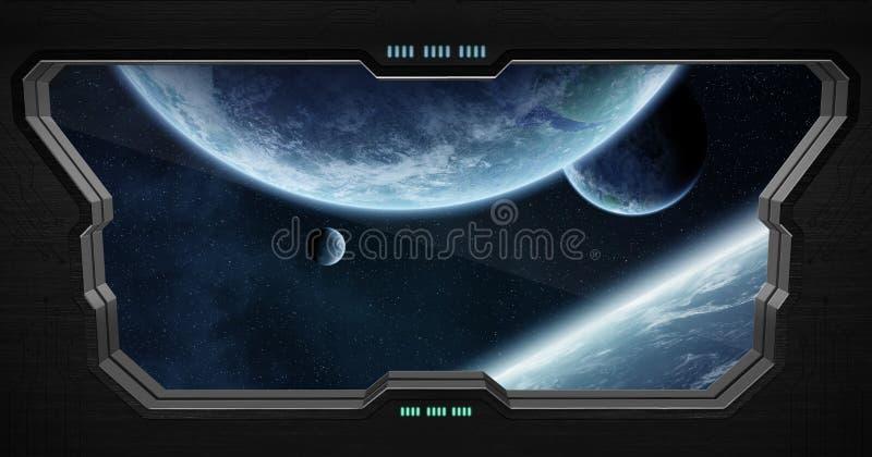 Widok kosmos z wewnątrz staci kosmicznej ilustracja wektor