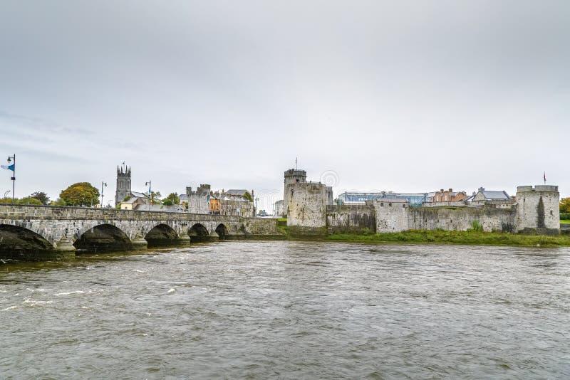 Widok królewiątka John kasztel, limeryk, Irlandia zdjęcia stock