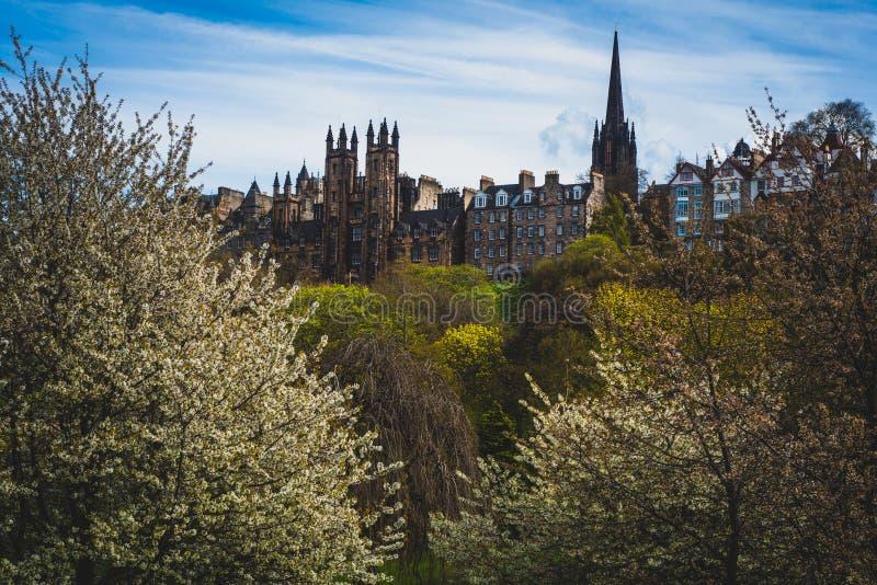 Widok Królewska mila w wiośnie, Edynburg, Szkocja, UK fotografia royalty free