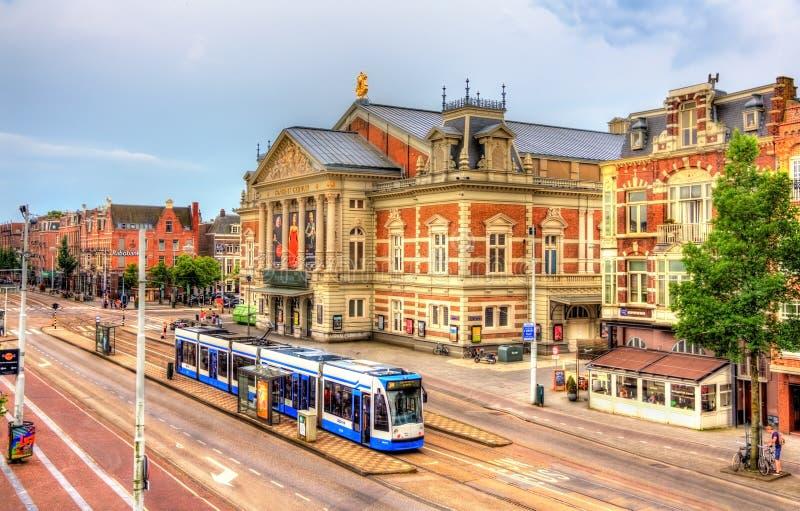 Widok Królewski Concertgebouw, filharmonia w Amsterdam fotografia royalty free