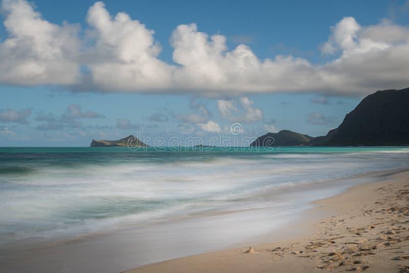Widok królik wyspa od Waimanalo plaży, Oahu, Hawaje zdjęcie stock