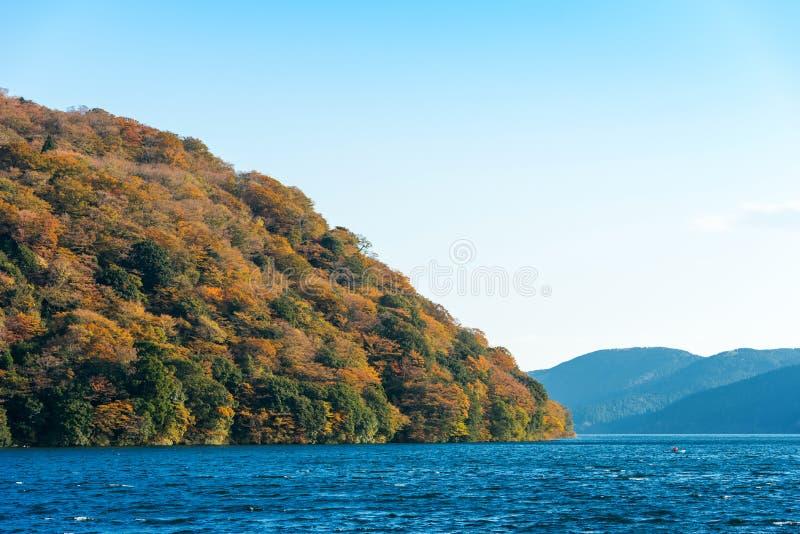 Widok krajobraz przy jeziornym Ashi w Hakone, Japonia Odbitkowa przestrzeń dla teksta zdjęcie royalty free