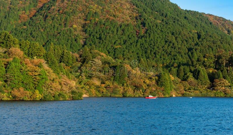 Widok krajobraz przy jeziornym Ashi w Hakone, Japonia Odbitkowa przestrzeń dla teksta obraz royalty free