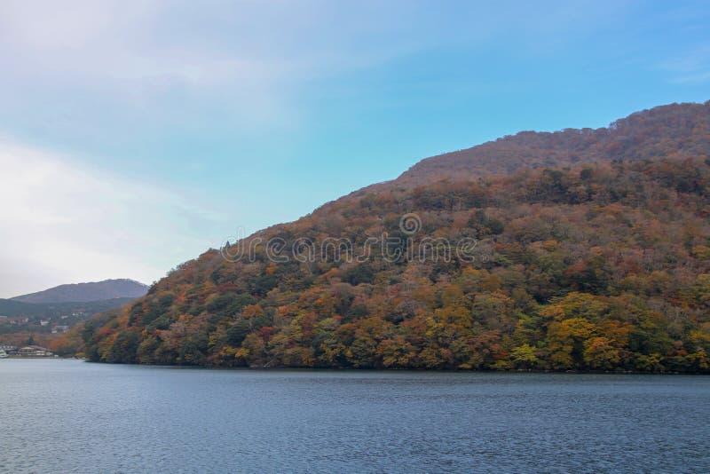 Widok Krajobrazowy góry i lasu Chang koloru liść przy Jeziornym Ashi w jesieni przyprawia Japonia fotografia stock