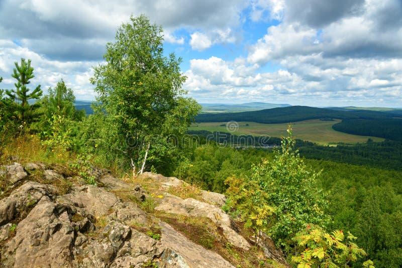 Widok las, góry, pola od Lipovaya Wspina się obraz royalty free