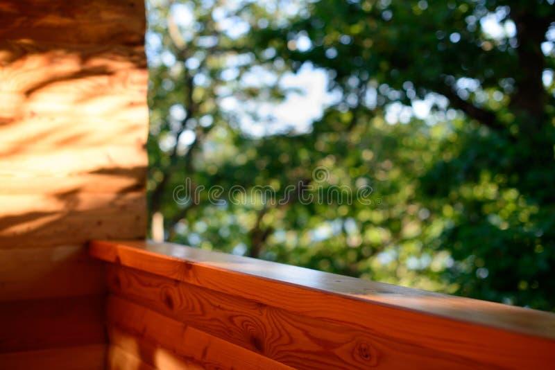 Widok las i drzewa od drewnianego balkonu Drewniany balkonowy natura widok lato las zdjęcie stock