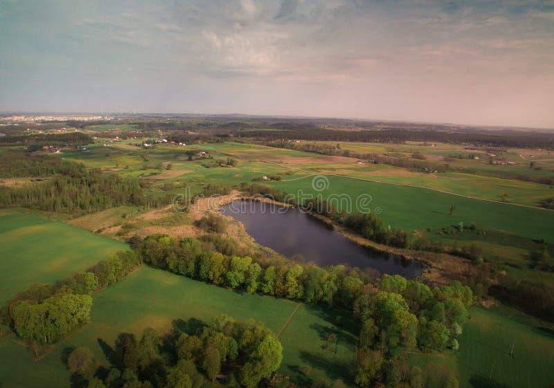 Widok las od wzrosta i rzeka obrazy royalty free