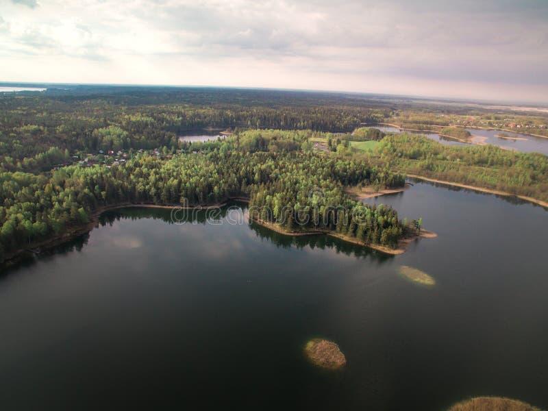 Widok las od wzrosta i rzeka obraz stock