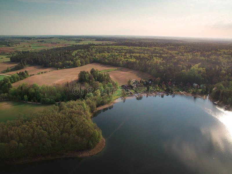 Widok las od wzrosta i rzeka obrazy stock