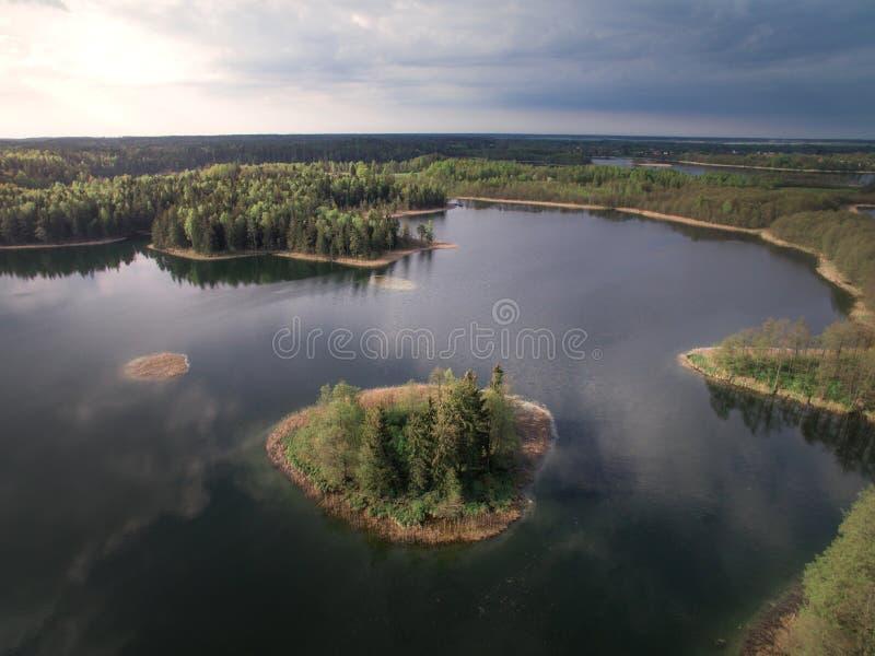 Widok las od wzrosta i rzeka fotografia royalty free