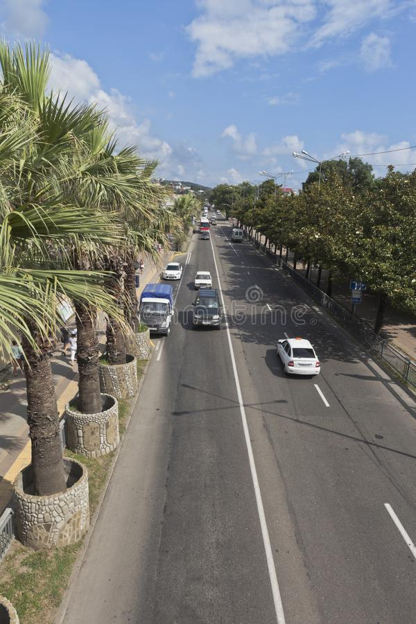 Widok Lazarev ulica od overground zwyczajnego skrzyżowania w wiosce Lazarevsky, Sochi obrazy royalty free