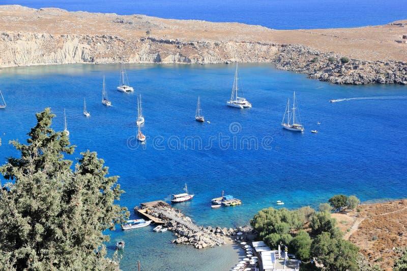 Widok Lindos zatoka, Rhodes Dodecanese wyspy, Grecja, Europa zdjęcie royalty free
