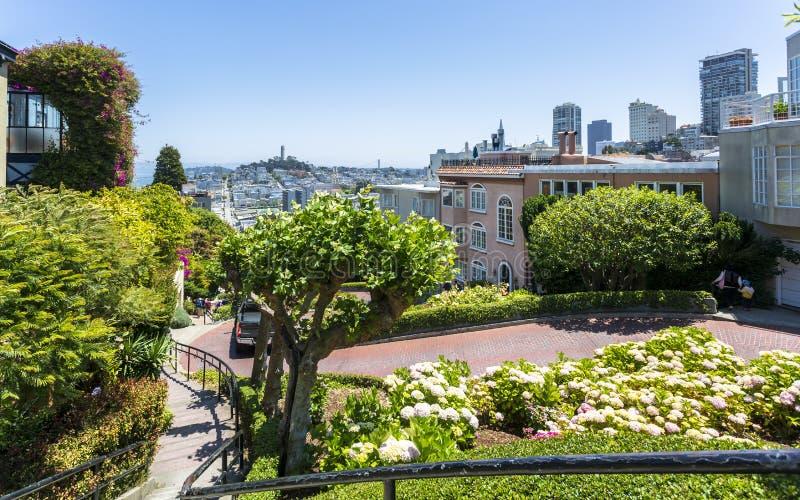 Widok Lombard Street, San Francisco, Kalifornia, Stany Zjednoczone Ameryka, Północna Ameryka fotografia stock