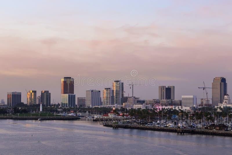 Widok Long Beach marina, Kalifornia od statku wycieczkowego duri zdjęcia stock