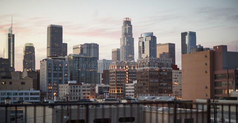 Widok Los Angeles linia horyzontu Przy zmierzchem obraz stock