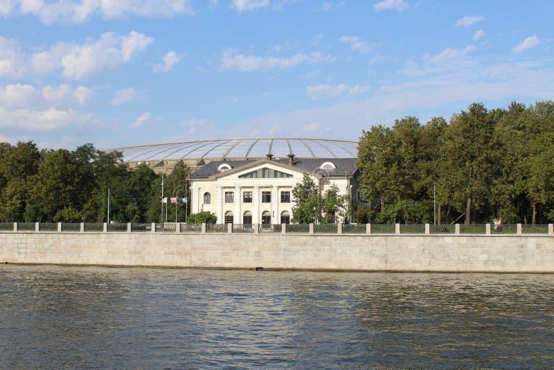 Widok Luzhniki stadium od statku od Moskwa rzeki obraz royalty free