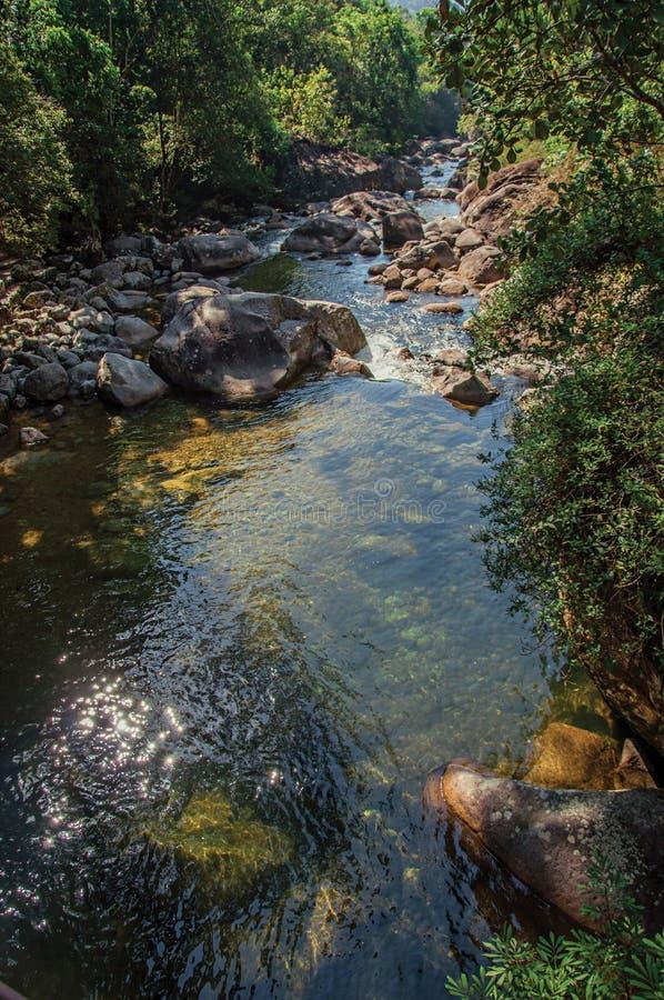 Widok mała siklawy laguna po środku lasu przy Itatiaia parkiem fotografia royalty free
