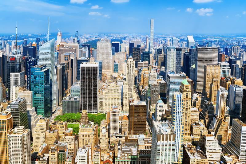 Widok Manhattan od drapacza chmur ` s obserwaci pokładu Nowy Yo zdjęcie stock