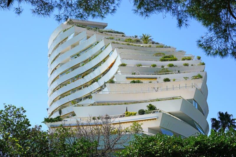 Widok Marina Baie des Anges budynku kompleks blisko Antibes, Francja obrazy stock