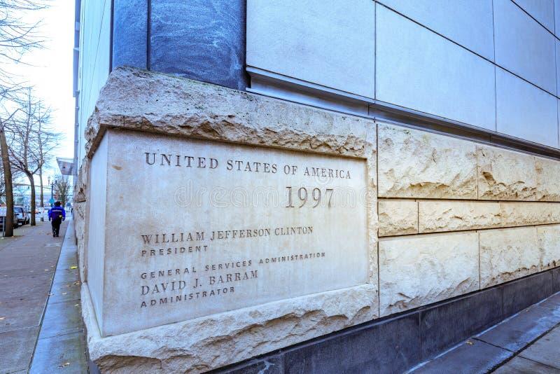 Widok Mark O Hatfield Stany Zjednoczone gmach sądu w śródmieściu Po obraz royalty free