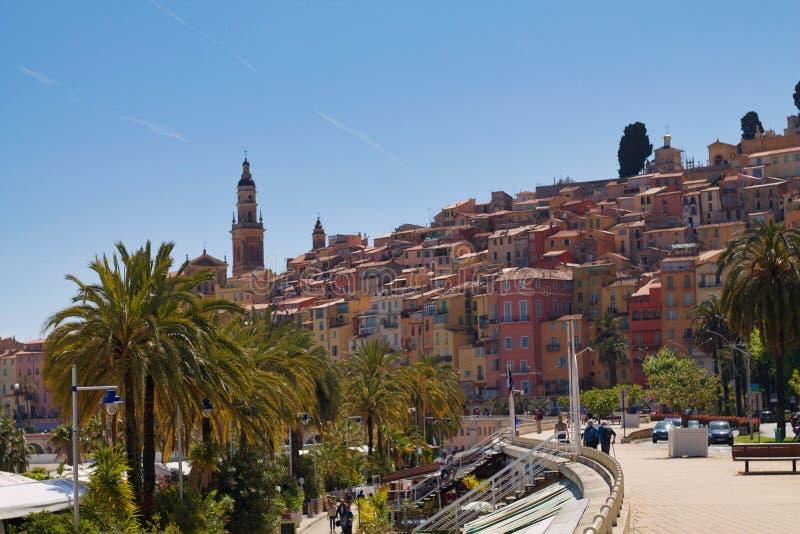Widok menton deptak, piękny miasteczko w francuskim Riviera fotografia stock