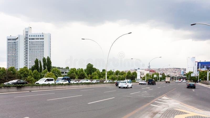 Widok Mevlana bulwar w Ankara mieście zdjęcia stock