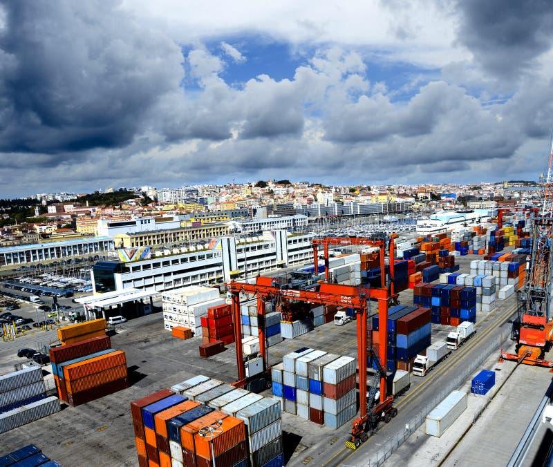 Widok miasteczko Lisbon i port Lisbon obraz royalty free