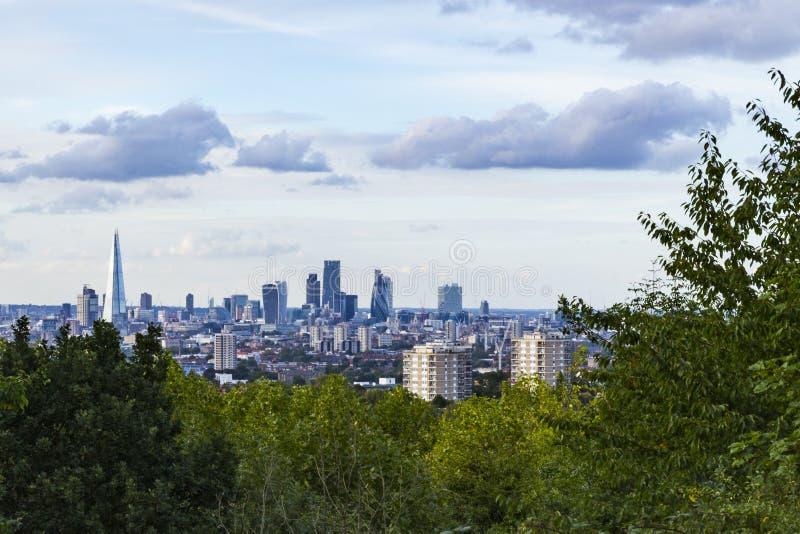 Widok miasto Londyn od Jeden Drzewnego wzgórza fotografia stock