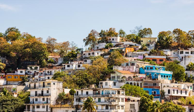 Widok miasto Manzanillo, Meksyk Meksykanin Riviera obrazy stock