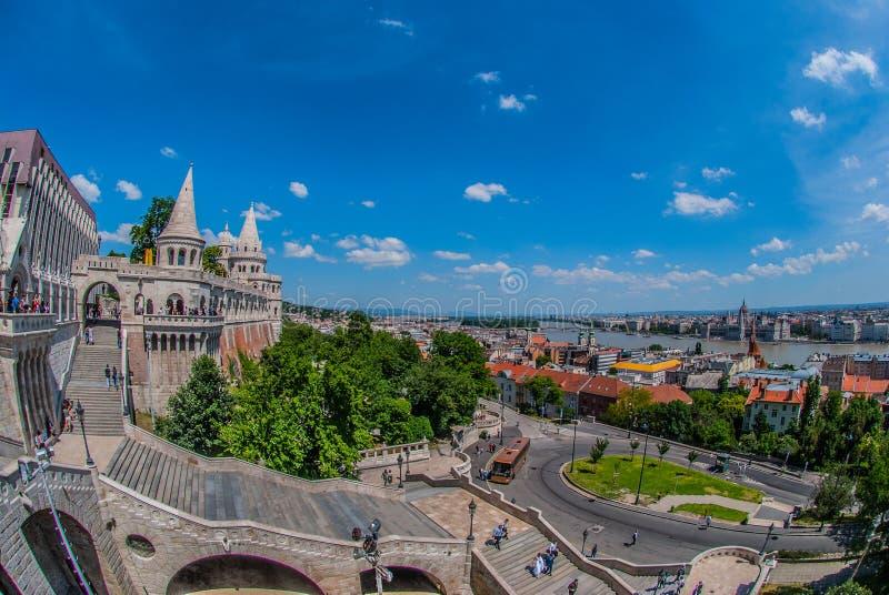 Widok miasto od historycznego budynku w Budapest obraz royalty free