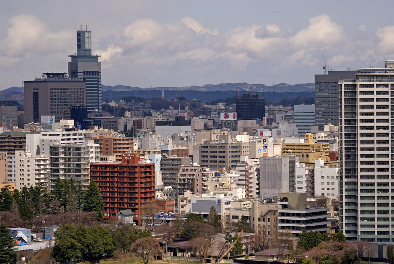 Widok miasto, Sendai, Japonia zdjęcie royalty free