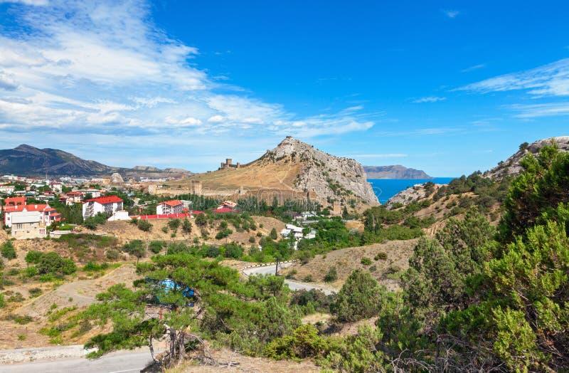 Widok miejscowość wypoczynkowa Sudak na wybrzeżu Czarny morze obrazy stock