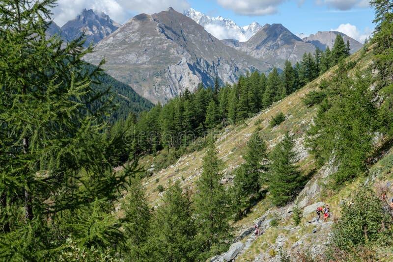 Widok Mont Blanc pasmo górskie od Aosta doliny fotografia royalty free
