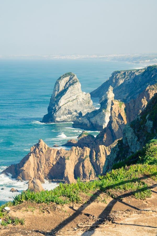 Widok morze od westernmost punktu Europa, Cabo da Ro obrazy stock