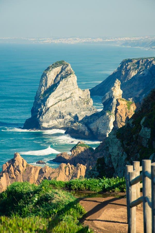 Widok morze od westernmost punktu Europa, Cabo da Ro zdjęcie royalty free