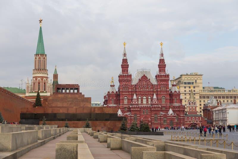 Widok Moskwa Kremlin, Twierdzi Dziejowego muzeum i Lenin mauzoleum na placu czerwonym, Rosja fotografia royalty free