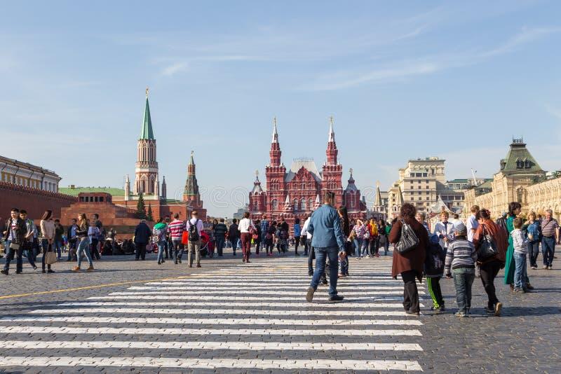Widok Moskwa Kremlin, Twierdzi Dziejowego muzeum i Lenin mauzoleum na placu czerwonym, Rosja zdjęcie royalty free