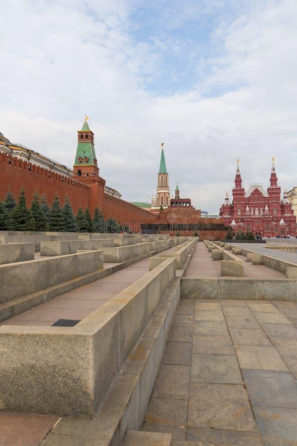 Widok Moskwa Kremlin, Twierdzi Dziejowego muzeum i Lenin mauzoleum na placu czerwonym, Rosja zdjęcie stock