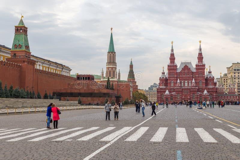 Widok Moskwa Kremlin, Twierdzi Dziejowego muzeum i Lenin mauzoleum na placu czerwonym, Rosja obrazy royalty free