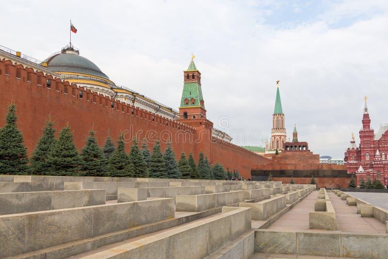 Widok Moskwa Kremlin, Twierdzi Dziejowego muzeum i Lenin mauzoleum na placu czerwonym, Rosja zdjęcia royalty free