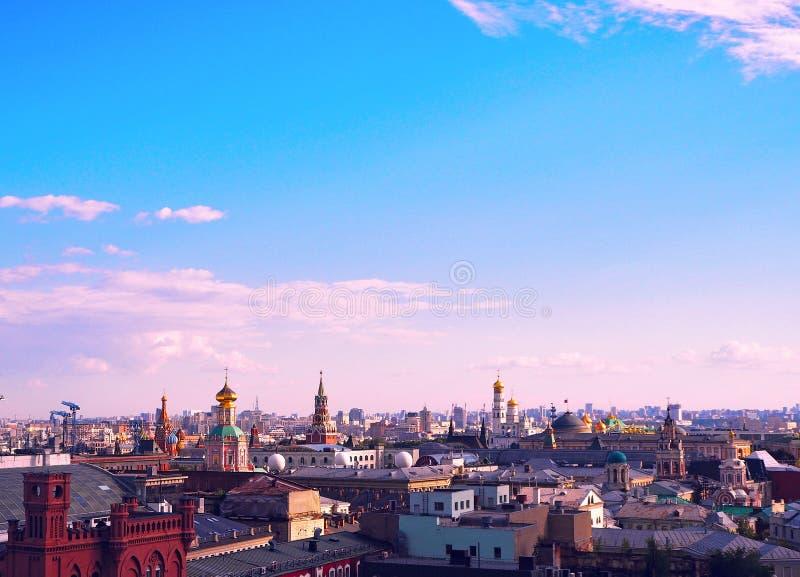 Widok Moskwa od obserwaci platformy na Lubyanka sklepów dzieci ` s sklep zdjęcia stock