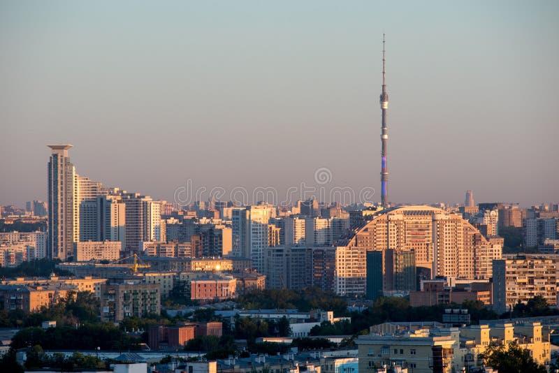 Widok Moskwa z Ostankino telewizji wierza, Rosja zdjęcia stock