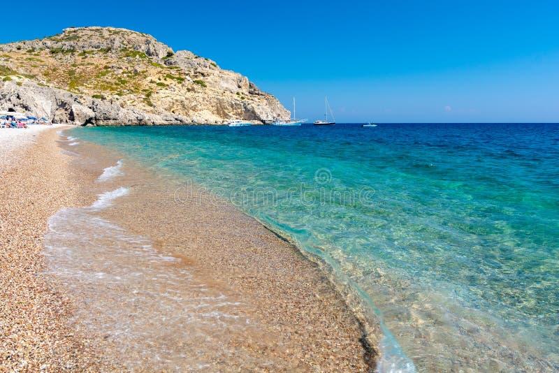Widok na Afandou plaży na Rhodes wyspie w Grecja zdjęcia royalty free