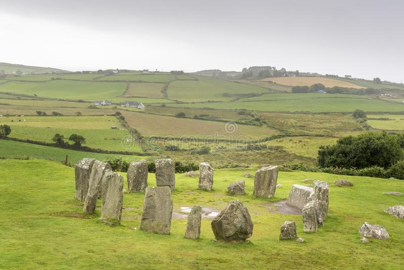 Widok na Drombeg kamienia okręgu obraz stock