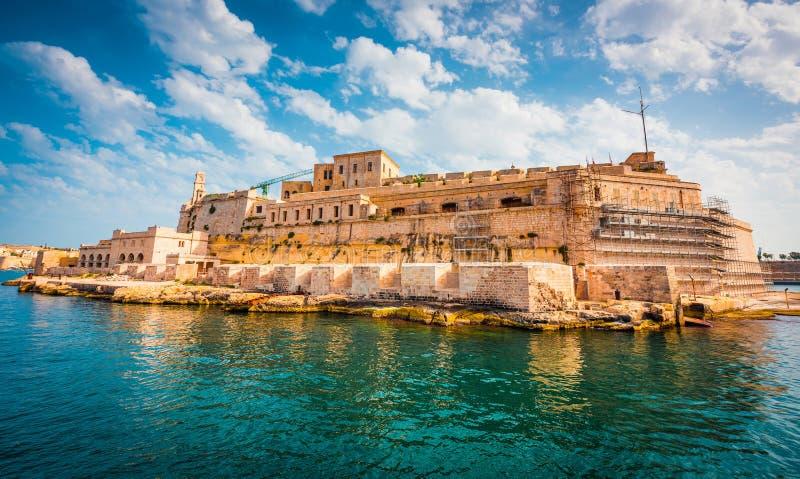Widok na fortu świętym Angelo w Birgu fotografia royalty free