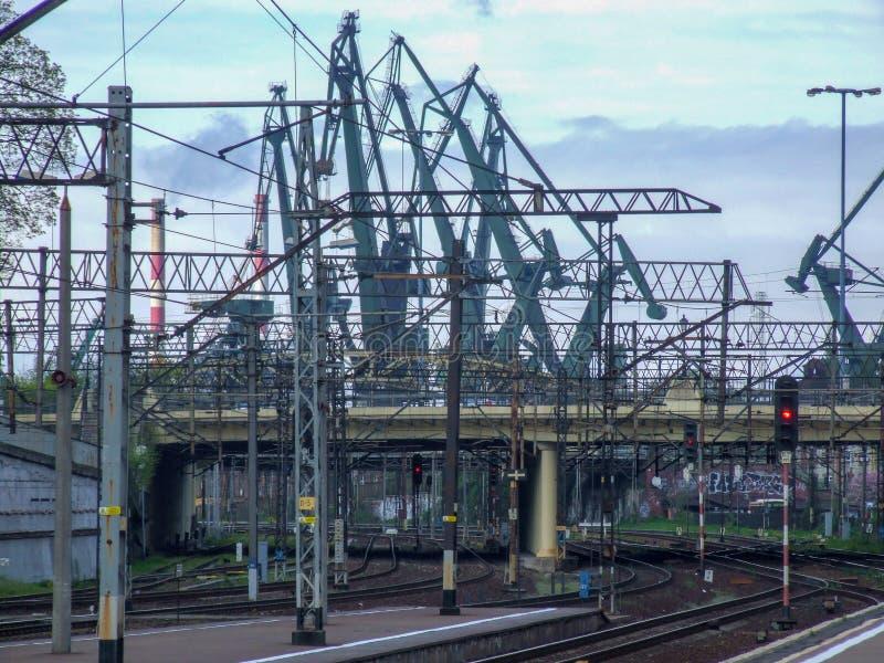 Widok na Gdańskiego GÅ 'Ã ³ linii kolejowej wny śmiertelnie obrazy royalty free