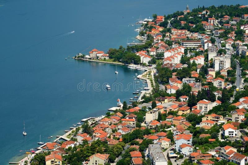 Widok na grodzkim Dobrota w zatoce Kotor, Montenegro obrazy royalty free