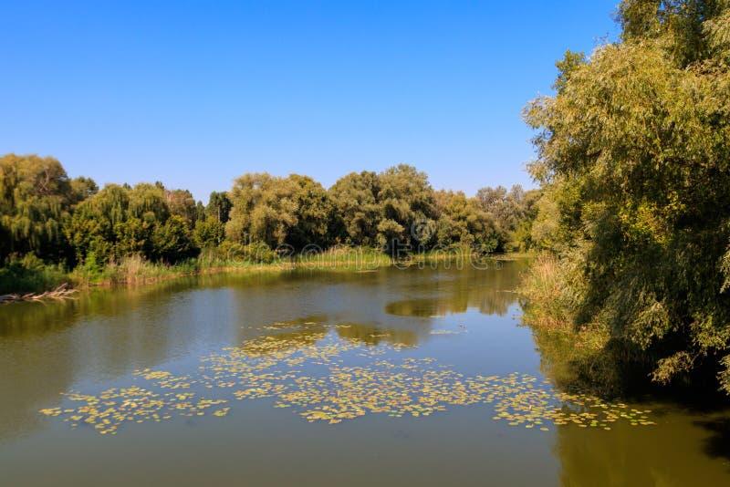 Widok na Khorol rzece w Myrhorod, Ukraina fotografia royalty free