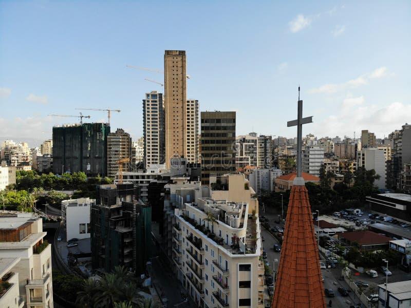 Widok na Liban z góry Zachodni Azja i Środkowy Wschód kraj który dzwoni także Libańska republika Powietrzna fotografia tworząca obrazy royalty free